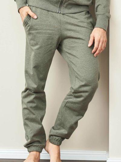 Pantalon 100% coton bio sport homme kaki clair chiné, GOTS