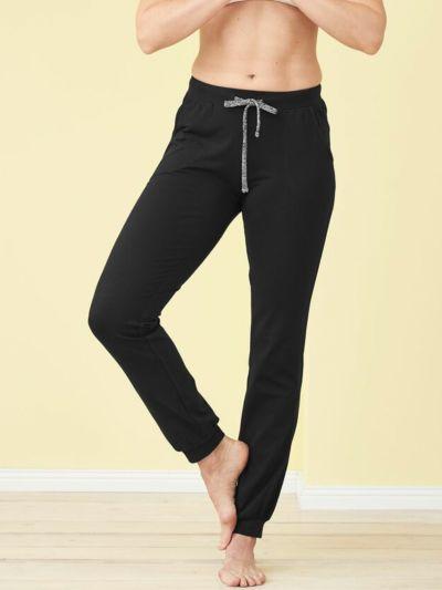 Pantalon coton bio détente Noir, GOTS