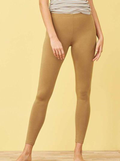 Legging coton bio long femme, GOTS, Tabac