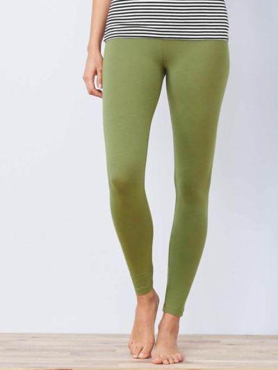 Legging coton bio long femme, GOTS, Fougère