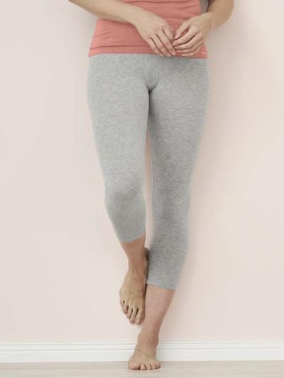 Legging coton bio 7/8 femme Gris chiné GOTS