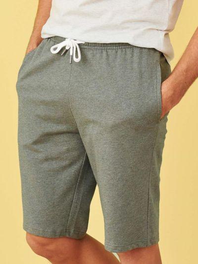 Bermuda sweat léger 100% coton bio, homme, Kaki clair chiné, GOTS