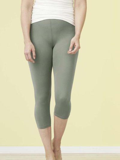 Legging coton bio 3/4 femme Kaki Clair GOTS