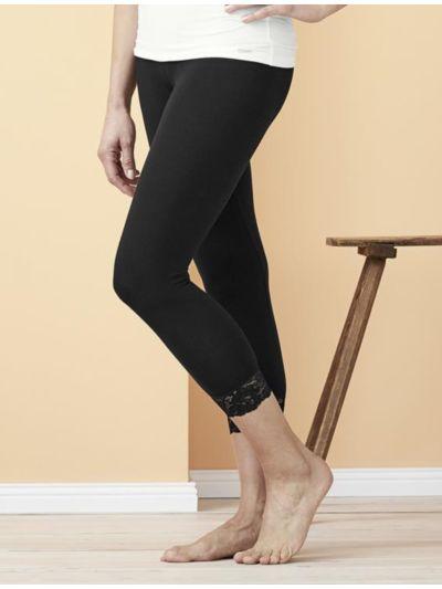 Legging coton bio et dentelle 7/8 femme Noir GOTS