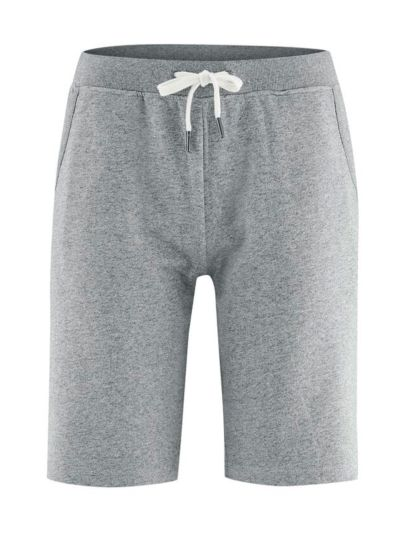 Short sweat léger 100% coton bio, gris chiné, GOTS