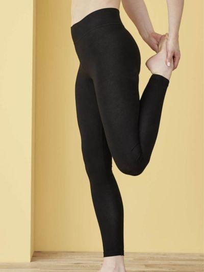 Legging coton bio taille haute, noir, GOTS et VEGAN