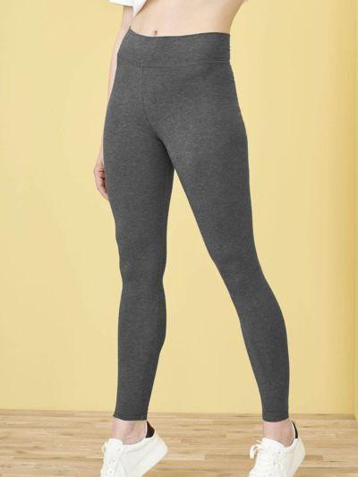 Legging coton bio taille haute, gris chiné, GOTS et VEGAN