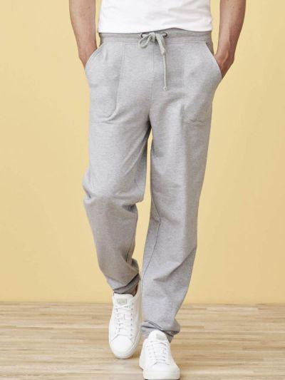 Pantalon jogging 100% coton bio homme Gris Chiné, GOTS et VEGAN