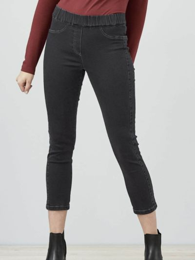 Tregging jean 7/8 coton bio femme, noir GOTS