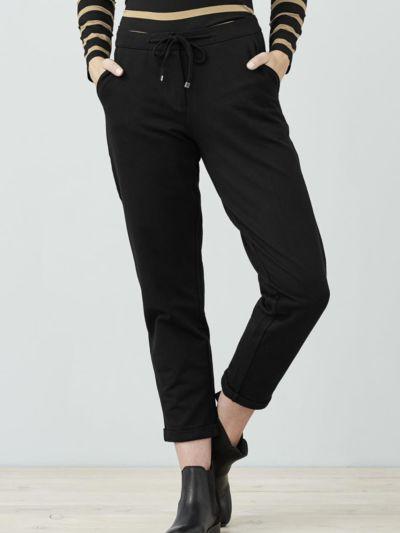 Pantalon coton bio jersey gabardine cértifié GOTS, noir