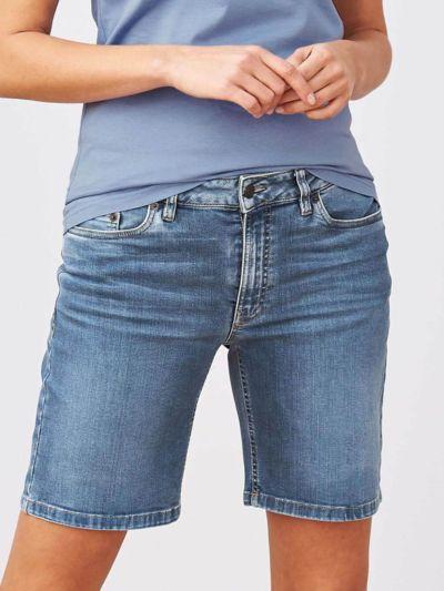 Bermuda en jean coton bio, femme, indigo délavé GOTS et VEGAN