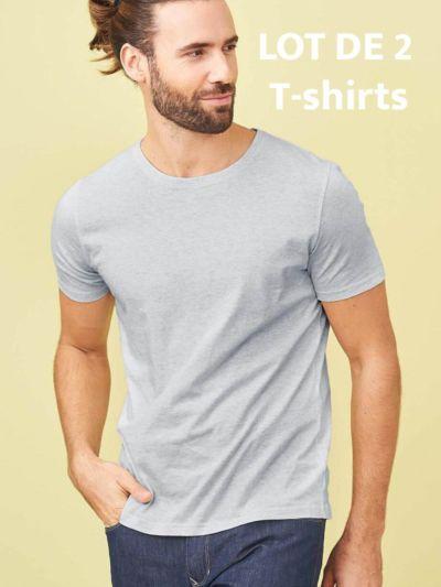lot de 2 T-shirt 100% coton bio, homme, gris chiné, GOTS et VEGAN