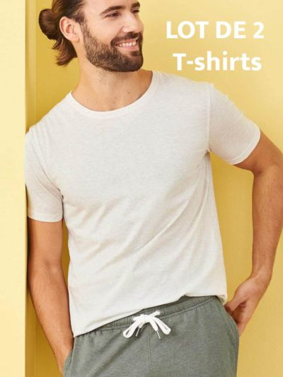 lot de 2 T-shirt 100% coton bio, homme, Naturel chiné, GOTS et VEGAN