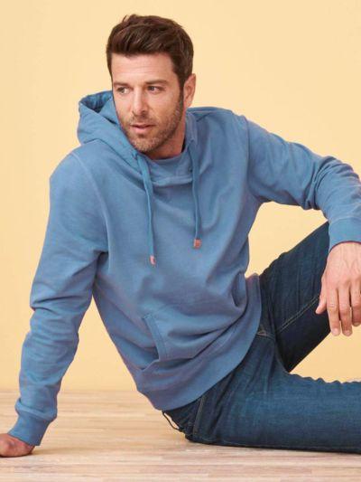 Sweat 100% coton bio Homme à capuche Bleu moyen, certifié GOTS et VEGAN