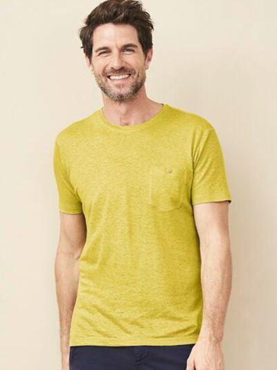 T-shirt coton/chanvre bio, homme, jaune anis, GOTS