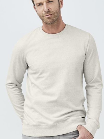 Sweat 100% coton bio homme, naturel chiné, certifié GOTS