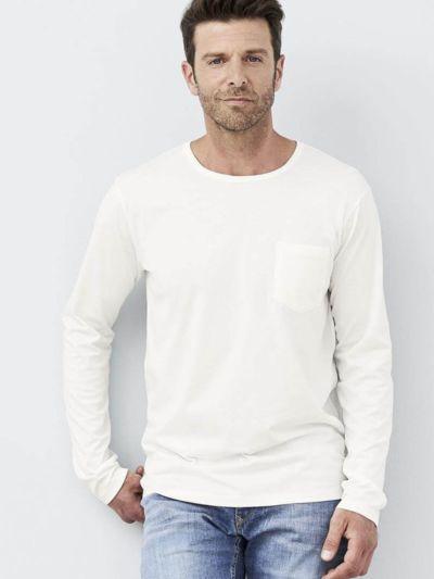 T-shirt 100% coton bio Pima ML homme, blanc cassé, GOTS