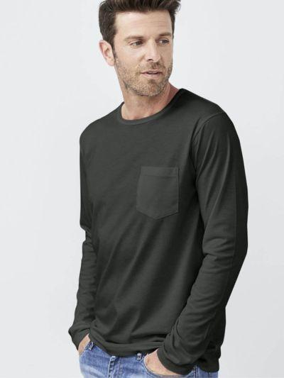 T-shirt 100% coton bio Pima ML homme, Volcan, GOTS