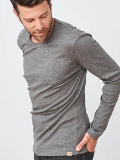 T-shirt 100% coton bio pour homme, ML, Gris chiné GOTS