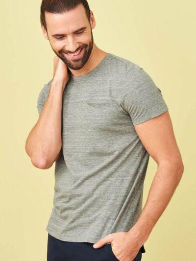 T-shirt coton/lin pour homme, roseau, GOTS et VEGAN