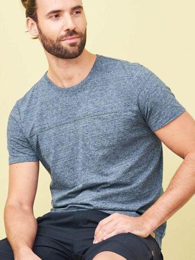 T-shirt coton/lin pour homme, Bleu, GOTS et VEGAN