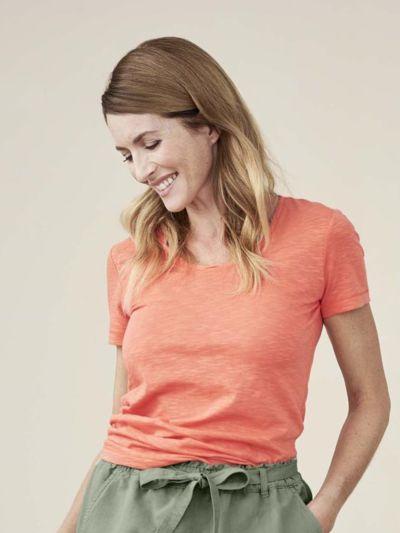 T-shirt coton 100% bio Femme col rond, Corail