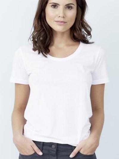T-shirt en 100% coton biologique MC, blanc, GOTS