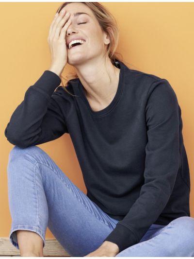 Sweat 100% coton bio Femme marine, certifié GOTS