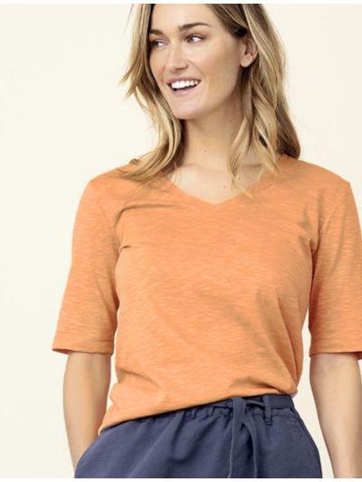 """T-shirt 100% coton bio """"flammé"""" Femme col V, Mandarine"""