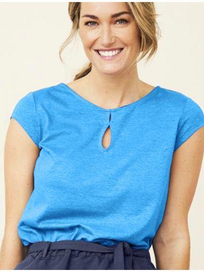 T-shirt coton/chanvre bio, femme, Turquoise, GOTS