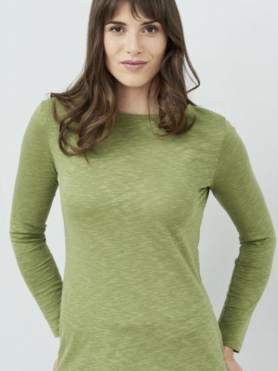T-shirt 100% coton bio, col bateau, ML, femme, Avocat, certifié GOTS