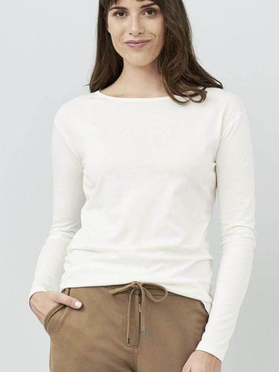 T-shirt 100% coton bio Pima ML femme, blanc cassé, GOTS