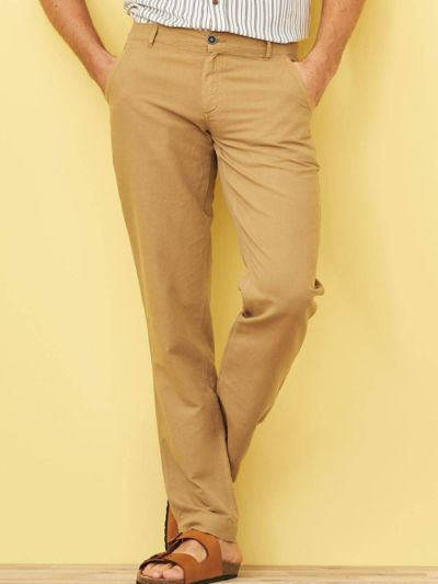 Pantalon lin/coton bio, homme, tabac GOTS et VEGAN