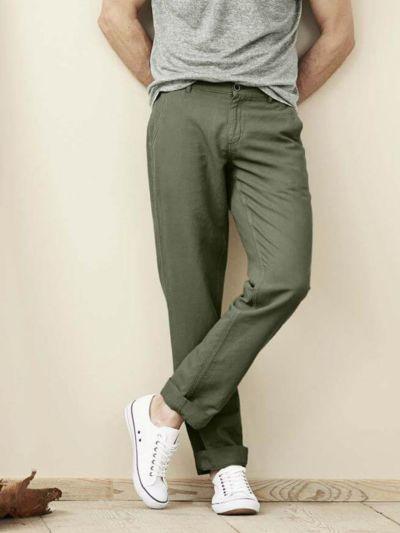 Pantalon lin/coton bio, homme, Olive GOTS et VEGAN