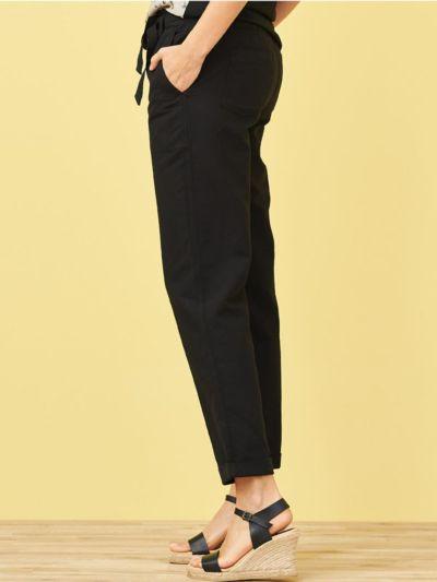 Pantalon en lin/coton bio, Noir, GOTS