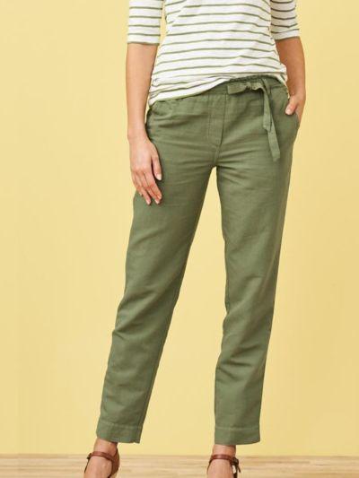Pantalon en lin/coton bio, Fougère, GOTS