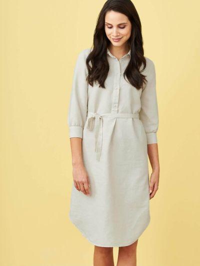 Robe-chemise en lin et coton bio, sable, GOTS et VEGAN