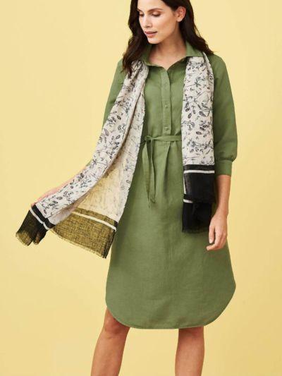 Robe-chemise en lin et coton bio, fougère, GOTS et VEGAN