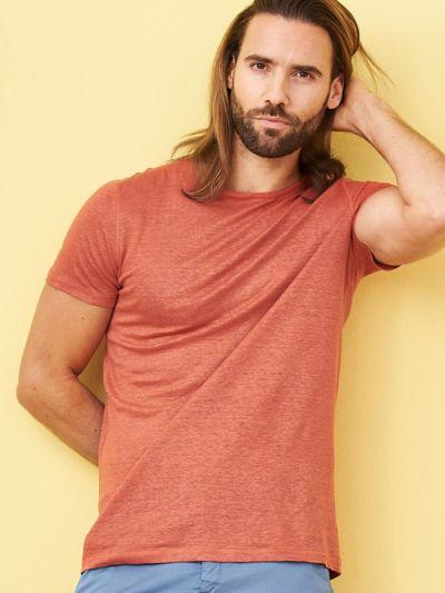 T-shirt 100% lin bio pour homme Terre orange
