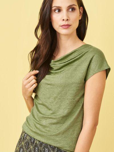 T-shirt 100% lin bio, col drapé, Fougère, GOTS