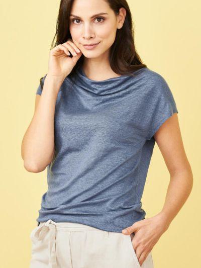 T-shirt 100% lin bio, col drapé, Bleu Lunaire, GOTS