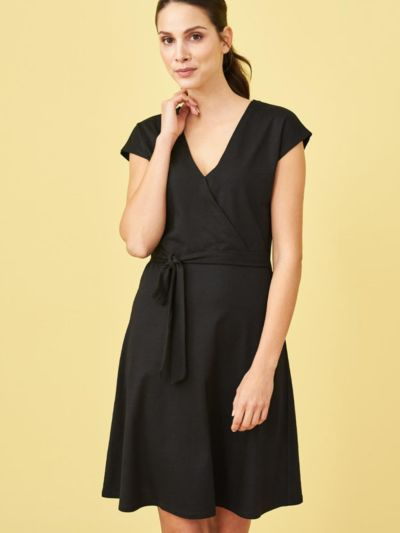Robe en coton bio/viscose bambou, manches courtes Noir, VEGAN