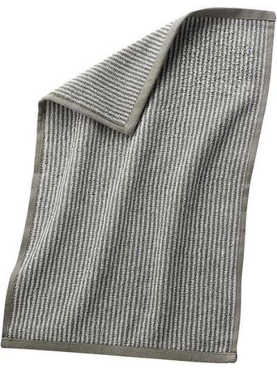 Serviette 100% coton bio 30X50 cm Rayé Naturel/Taupe clair