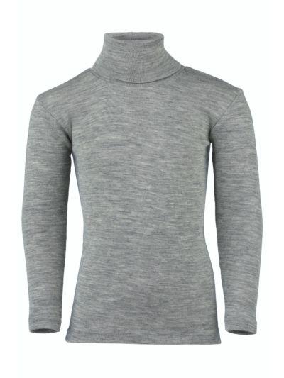 Sous pull laine et soie unisexe enfant gris chiné de 2 à 13 ans