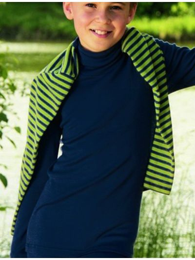 Sous pull laine et soie unisexe marine de 2 à 17 ans