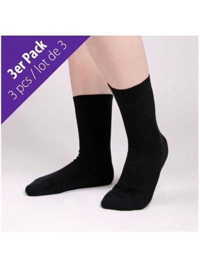 Lot de 3 chaussettes 100% coton bio du 37 au 44 Noir GOTS