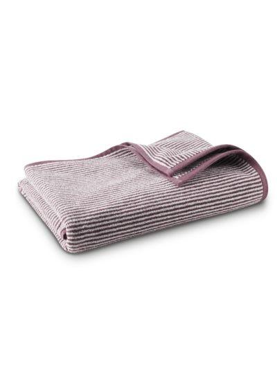 Serviette 100% coton bio 450 gm/m2, 140x70 cm  rayé Naturel/Merlot