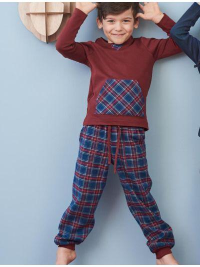 Pyjama 100% coton bio flanelle enfant tartane