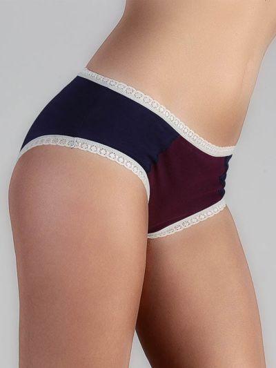 "Ligne ""CHLOE"" culotte-shorty coton bio Marine/Aubergine/Naturel"