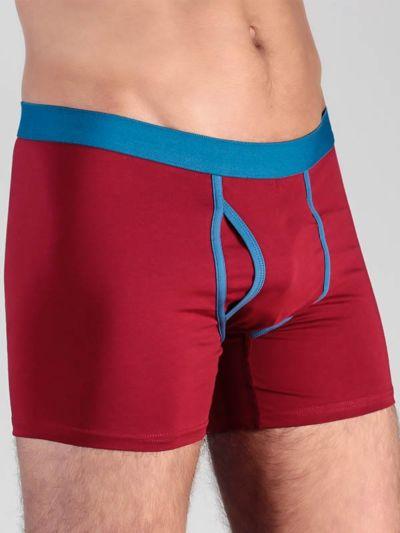 Boxer coton bio homme avec ouverture Rouge Foncé/Bleu